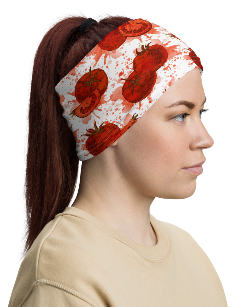 Red Tomato Face Mask Neck Warmer smashed gaiter