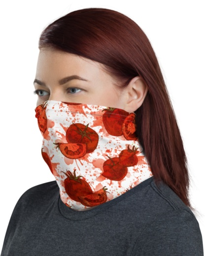 Red Tomato Face Mask Neck Warmer smashed gaiter