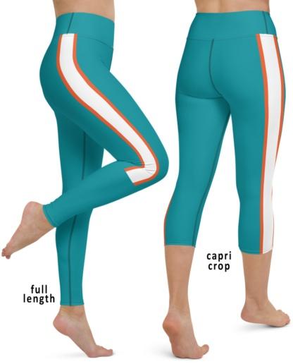 Miami Dolphins Football Uniform Yoga Sports Leggings Florida blue white teal pants