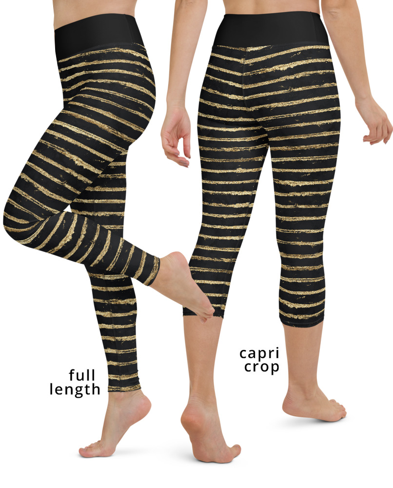 Glitter Gold Paint Stripes Yoga Leggings Stripes Striped glittery designer glamorous