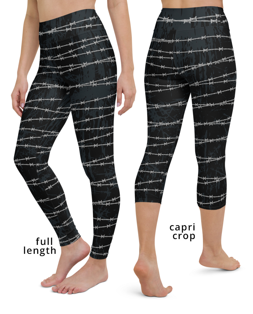 barbed wire yoga leggings fitness pants metal gothic rock and roll