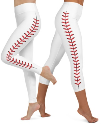 Baseball Yoga Leggings stitch stitches texture softball little league