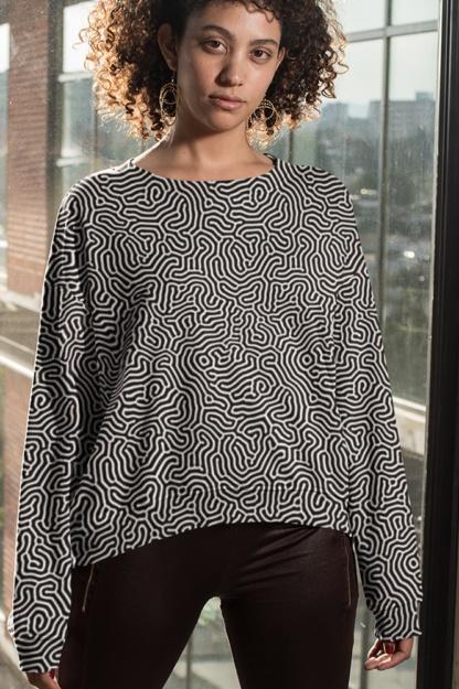 Biological Abstract Sweatshirt Black White Blue Pink