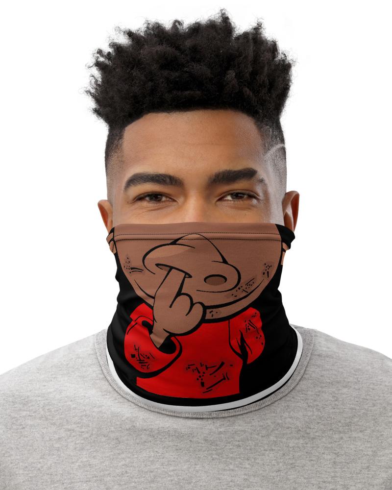 Nose Picker Face Mask Neck Warmer black & white stripes stripe dark light skin tone funny bandana