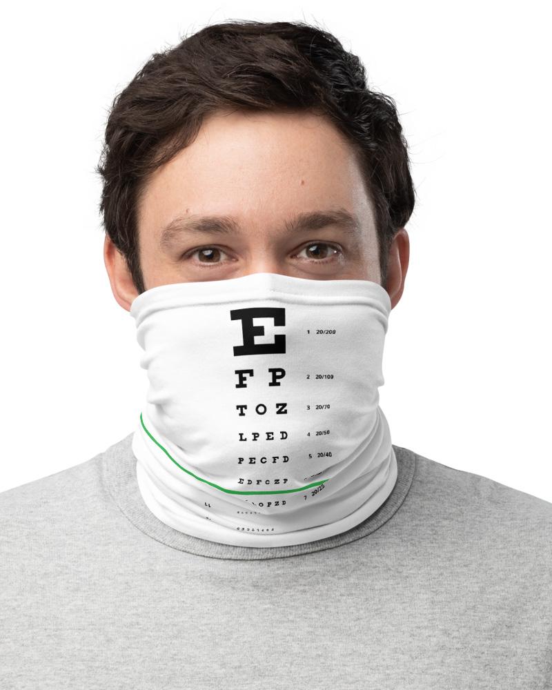 Eye Doctor Snellen Eye Chart Face Mask Neck Warmer white black