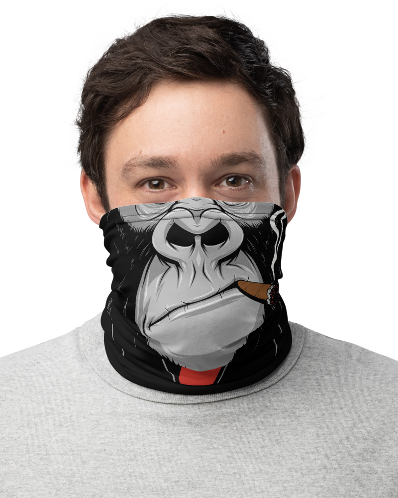 Gorilla Ape Monkey Face Mask Neck Warmer cigar smoking smoke monkey