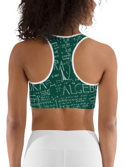 Green Chalkboard Algebra Math Sports Bra