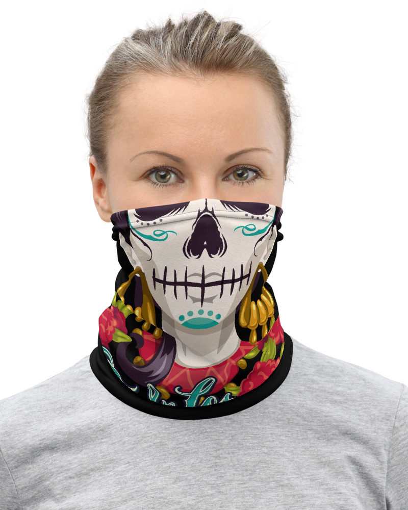 Day of the Dead Skeleton Face Mask Neck Warmer Cover
