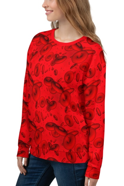 Red Blood Cells Sweatshirt / Unisex Size scientist microscope microscopic doctor bloody