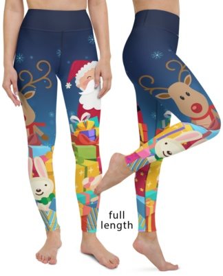 Christmas Santa & Rudolph Yoga Leggings red nose gifts gift holiday holidays