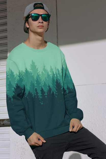 Green woods Country Pine Tree Forest Sweatshirt