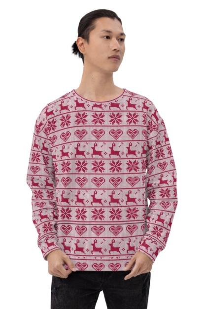 Ugly Christmas Sweater Sweatshirt snowflake, hearts, & reindeer pattern