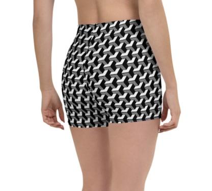 Isometric Striped 3D Yoga Compression Shorts