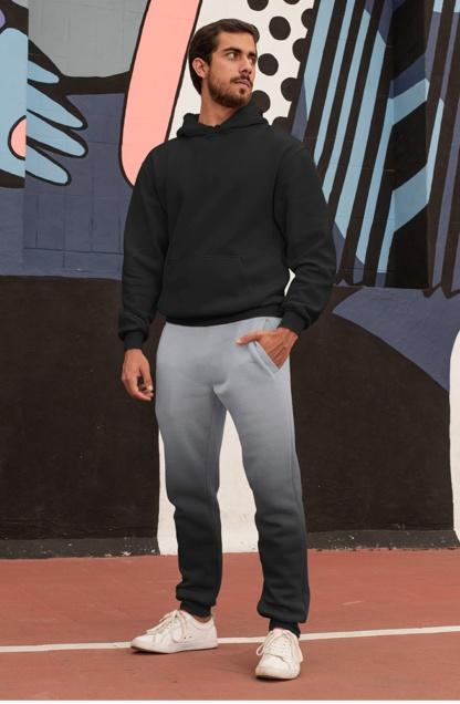 2 Color Gradient Joggers for Men boys sweat pants track suit bottoms gray black