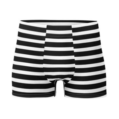 Horizontal Striped Men's Boxer Briefs orange black white red underwear stripes