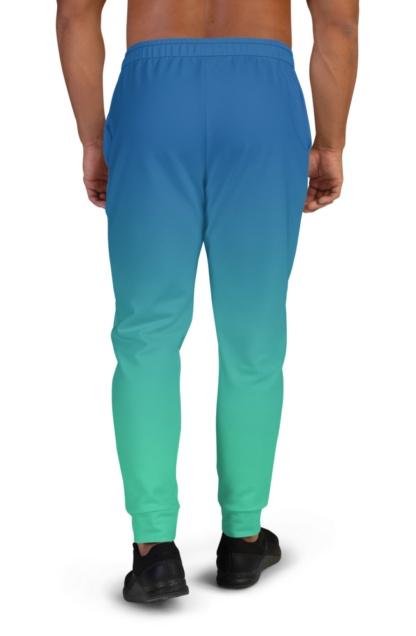 2 Color Gradient Joggers for Men boys sweat pants track suit bottoms blue green