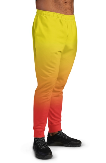 2 Color Gradient Joggers for Men boys sweat pants track suit bottoms yellow red