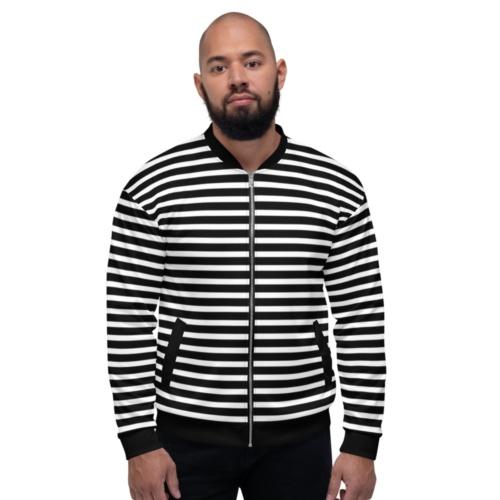 Horizontal Stripe Unisex Jacket Coat black and white stripes striped