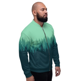 Winter Pine Tree Forest Jacket Unisex Size red green gold coat