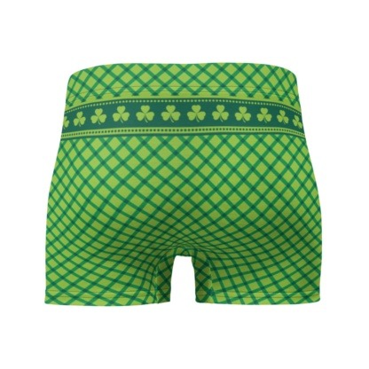 Green Plaid St Patrick's Day Boxer Briefs Men's Underwear Fuck me I'm Irish
