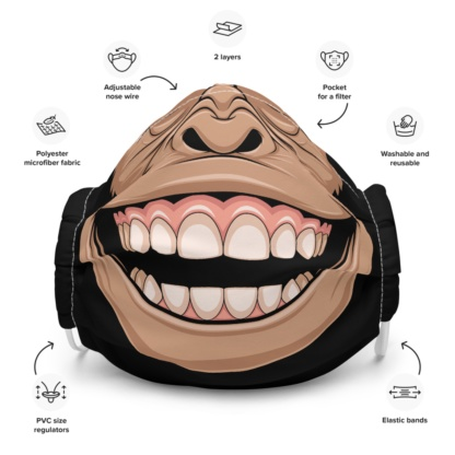 Chimpanzee Face Mask with Filter Pocket monkey chimps chimp