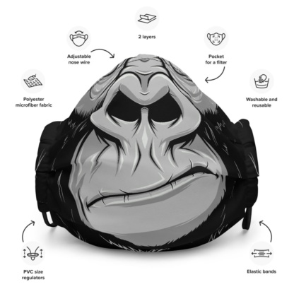 Great Ape Gorilla Face Mask with Filter Pocket great ape monkey