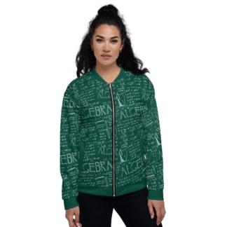 Green Chalkboard Algebra Math Bomber Jacket / Unisex Size
