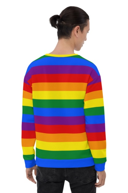 Rainbow Gay Flag Sweatshirt / Unisex Size symbol of lesbian, gay, bisexual, transgender, and queer pride and LGBTQ social movements