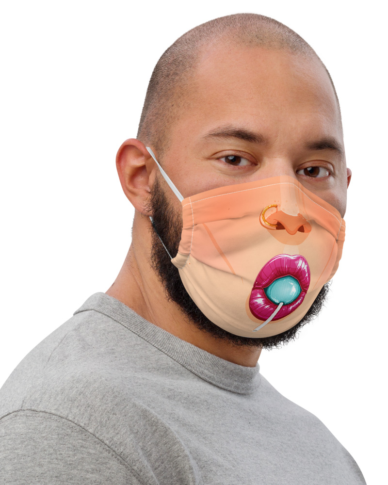 Girly Lips with Lollypop Protective Face Mask