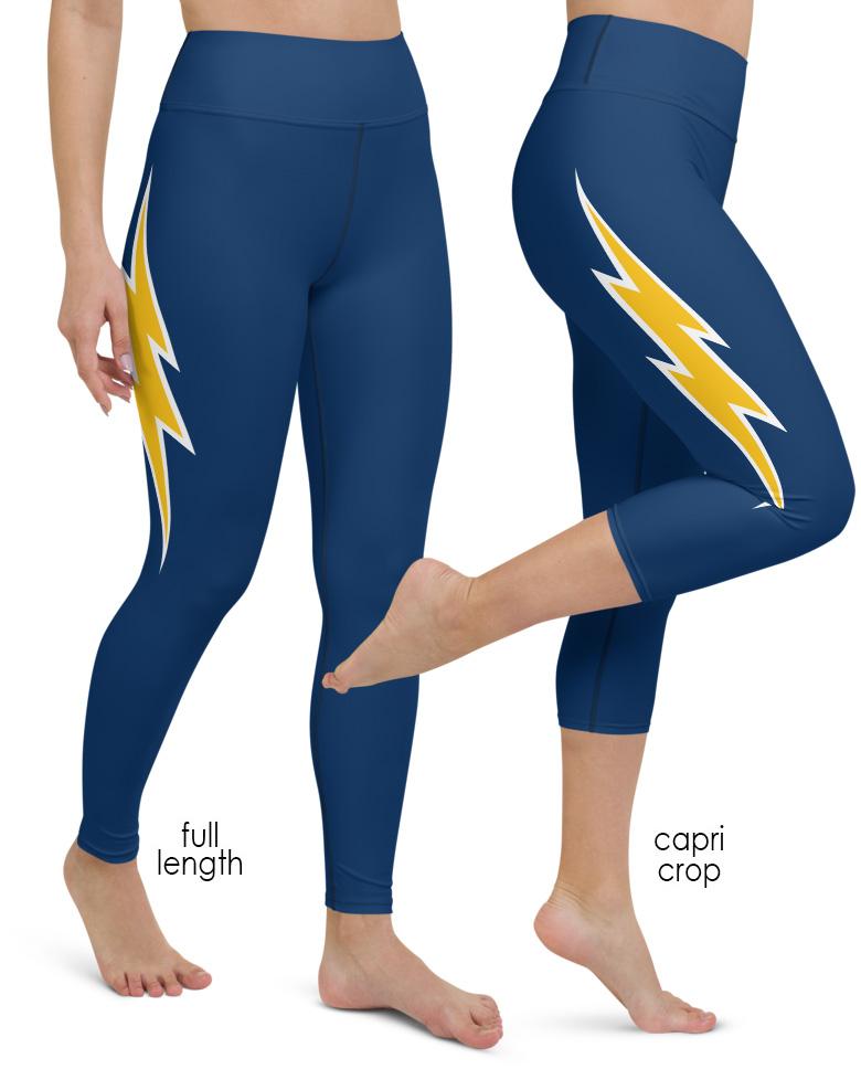 Los Angeles Chargers Game Day Football Uniform Yoga Leggings navy gold white blue lightening bolt stripe
