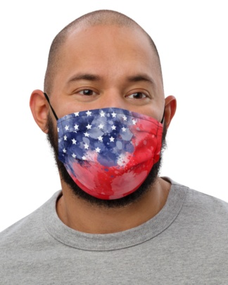 Grungy USA American Flag Mask with Filter Pocket patriotic patriot