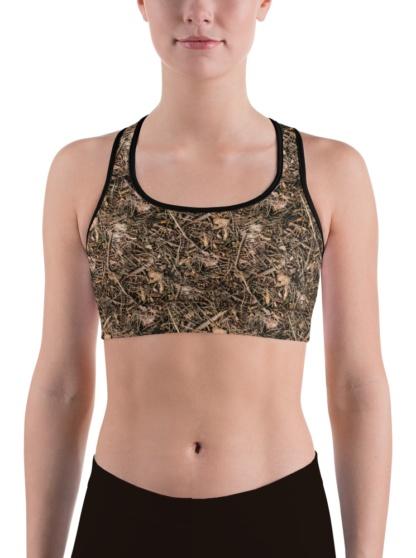 Branches & Twigs Realistic Camouflage Sports Bra camo top