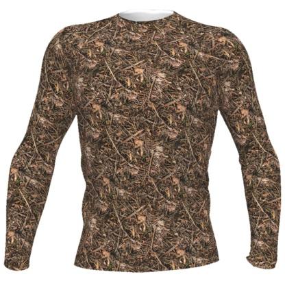 Men's Branches & Twigs Realistic Camouflage Rash Guard Camo Top