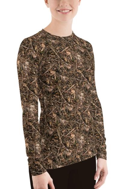 Women's Branches & Twigs Realistic Camouflage Rash Guard camo Top
