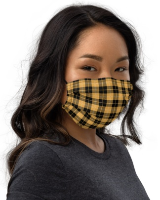 Plaid Resizable Face Mask with Filter Pocket yellow red white blue