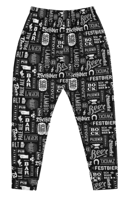 craft beer, ale, lager, ipa & stout joggers sweats sweatpants men