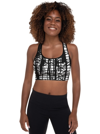Smeared Ink Abstract Sports Bra padded supportive