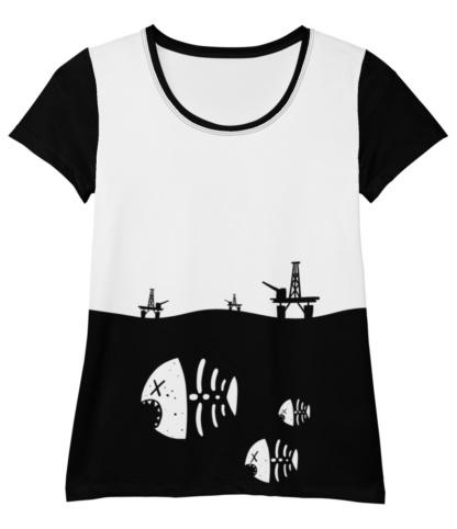 Dead Fish Skeleton Oil Rig Environment T-shirt for Athletic Women