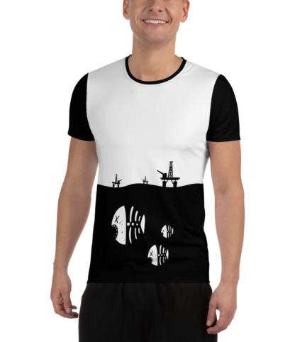 Dead Fish Skeleton Oil Rig Environment T-shirt for Athletic Men