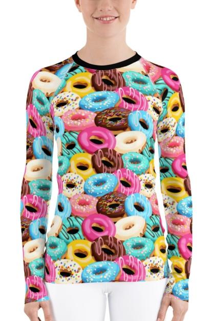 Sweet Tooth Donut Women's Long Sleeve Rash Guard