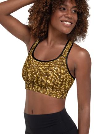 Shimmery Gold Sports Bra