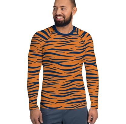 Auburn University Tigers Football Men's Rash Guard orange blue tiger stripes strip striped