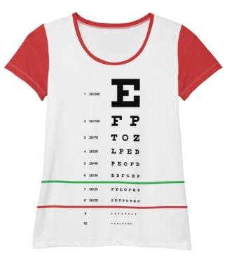 Eye Test Snellen T-shirt for women / Athletic Short Sleeve exam doctor optometrist