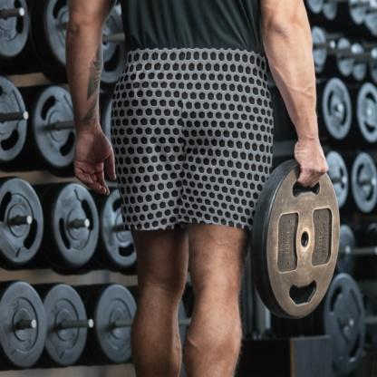 Silver metallic Metal Grill Men's Athletic Shorts