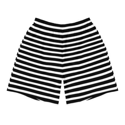 Horizontal Stripes Men's Athletic Shorts orange red black white stripe stripes striped
