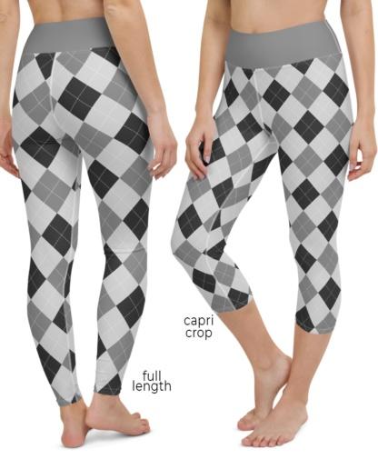 Classic Argyle Yoga Leggings Gray