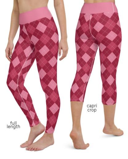 Classic Argyle Yoga Leggings Pink