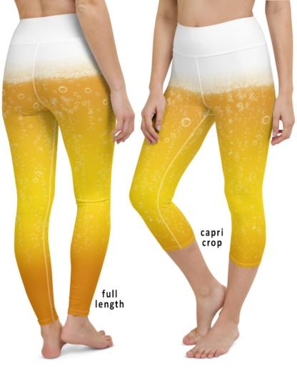 Bubbles & Foam Beer Yoga Leggings party pants yellow