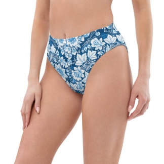 Porcelain Blue Floral Recycled High-Waisted Bikini Bottom
