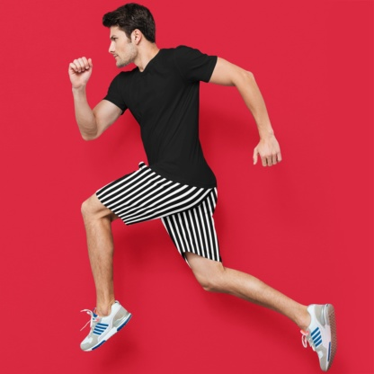 Vertical Striped Men's Athletic Shorts